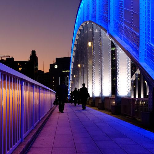 永代橋のライトアップをVelviaで撮る